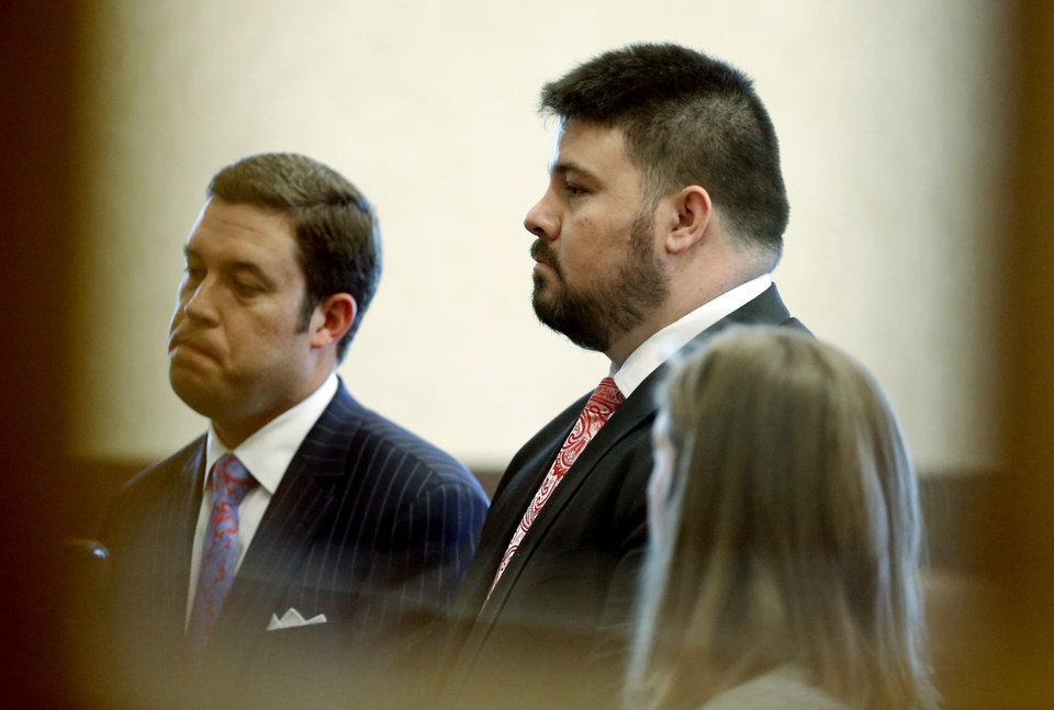 Photo - Former Oklahoma State Senator Ralph Shortey, right, appears for arraignment with his lawyer Ed Blau at the Cleveland County Courthouse on Friday, March 24, 2017 in Norman, Okla.  Photo by Steve Sisney, The Oklahoman
