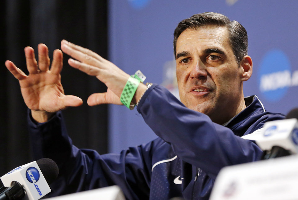 Photo - Villanova coach Jay Wright speaks during a press conference on Final Four Friday before the national semifinal between the Oklahoma Sooners and the Villanova Wildcats in the NCAA Men's Basketball Championship at NRG Stadium in Houston, Friday, April 1, 2016. OU will play Villanova in the Final Four on Saturday. Photo by Nate Billings, The Oklahoman