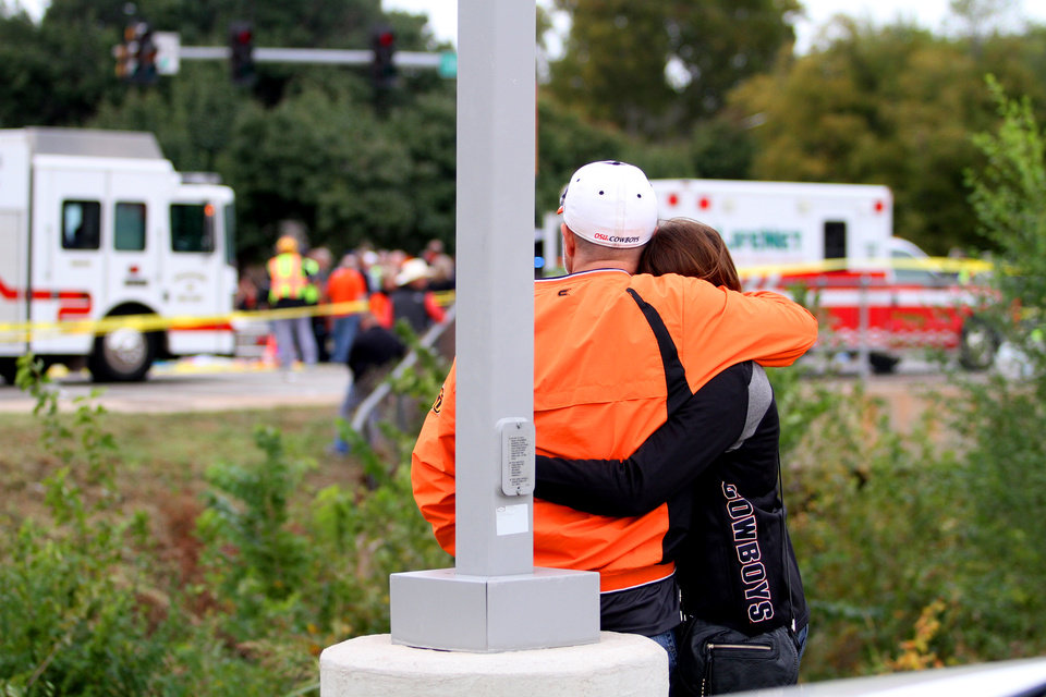 Photo - An accident occurred at the intersection of Hall of Fame and Main during the OSU homecoming parade on October 24, 2015 in Stillwater, Oklahoma. Photo by Kurt Steiss, For the Oklahoman