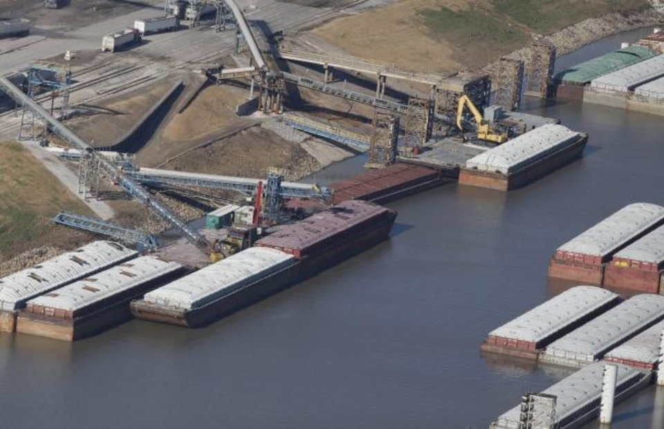 Photo -  An aerial view of the Port of Catoosa.  [TOM GILBERT/TULSA WORLD]