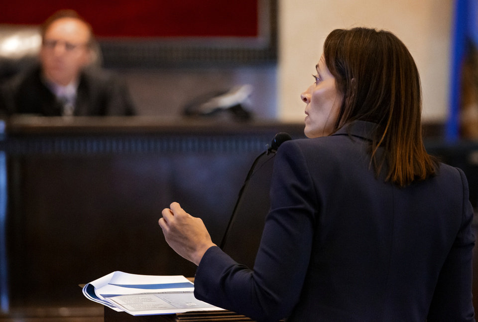 Photo - Defense attorney Sabrina Strong speaks to the court during the hearing to settle the Journal Entry of Judgment for opioid trial at the Cleveland County Courthouse in Norman, Okla. on Tuesday, Oct. 15, 2019. Judge Balkman ruled last Aug. in favor of the State of Oklahoma, for Johnson and Johnson pay $572 million to a plan to abate the opioid crisis.  [Chris Landsberger/The Oklahoman]