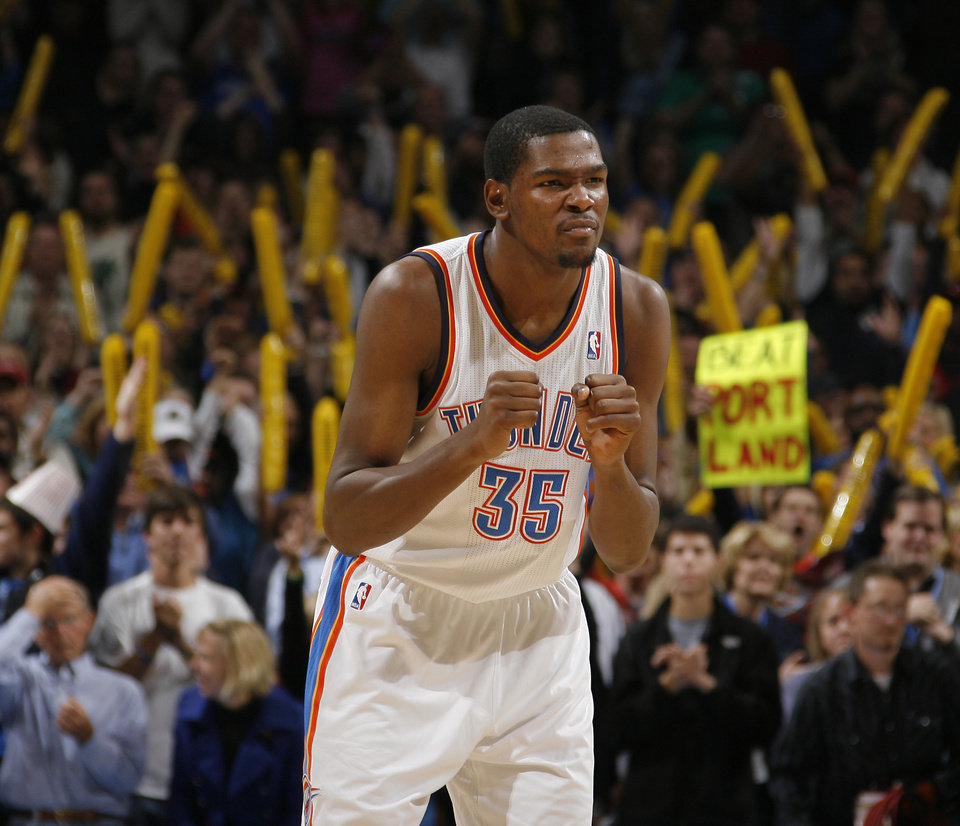 Photo - Oklahoma City's Kevin Durant reacts during the NBA basketball game between the Oklahoma City Thunder and the Portland Trail Blazers at the Oklahoma City Arena on Friday, Nov. 12, 2010.   Photo by Bryan Terry, The Oklahoman