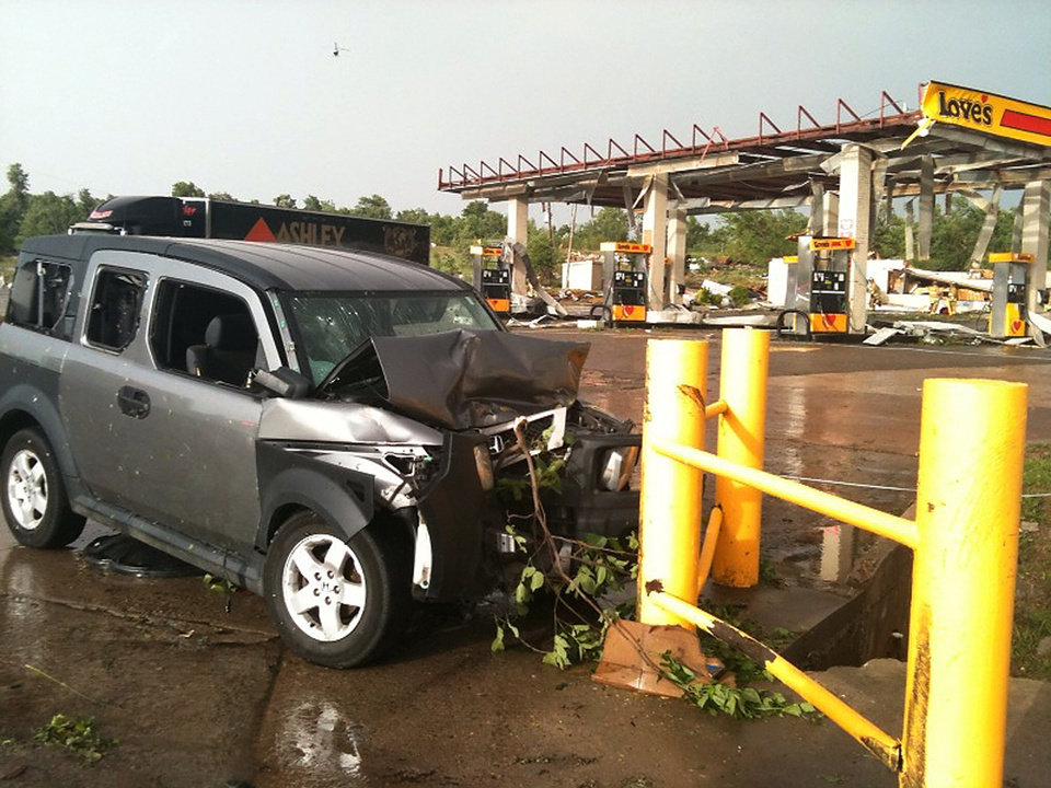 Photo - Damage from the area of I-40 and Choctaw Rd Monday May 10, 2010. Photo by Chris Landsberger, The Oklahoman