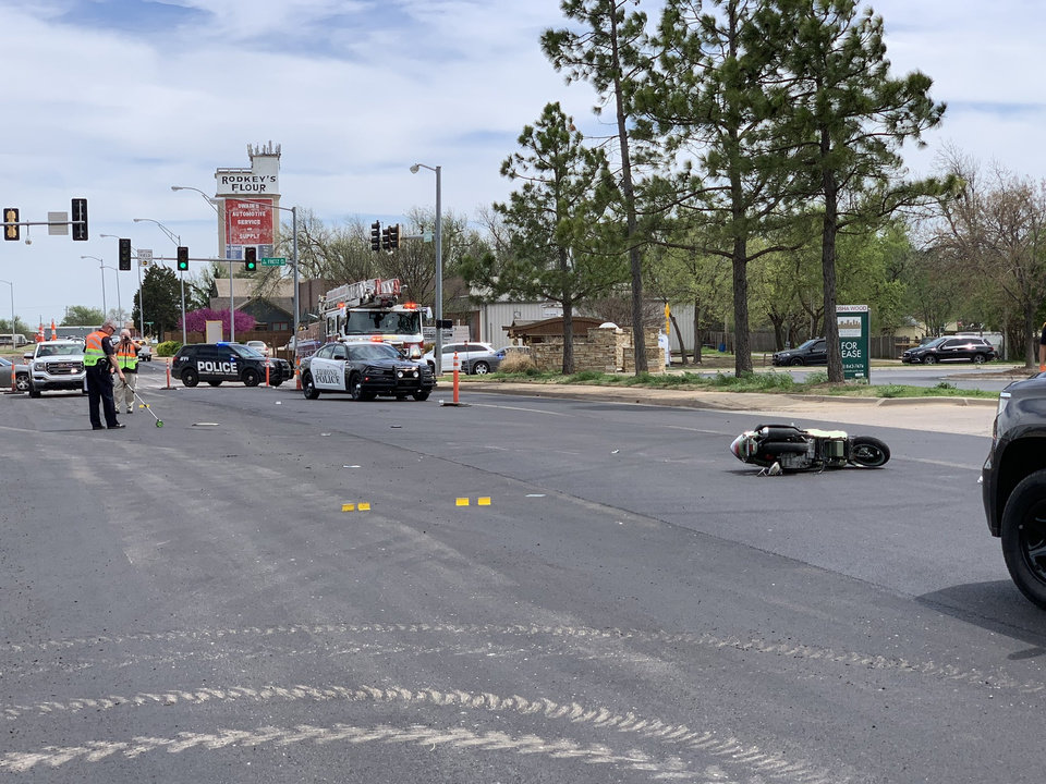 Photo -  Edmond police are investigating a Wednesday wreck involving a scooter and a pickup that resulted in a man being killed. [Edmond Police Department photo]