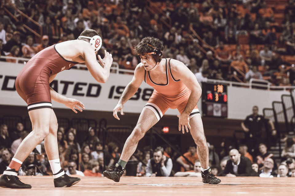 Photo - Oklahoma State sophomore Wyatt Sheets, right, was named the Big 12 Wrestler of the Week for the second time. [Bruce Waterfield/Courtesy of OSU Athletics]