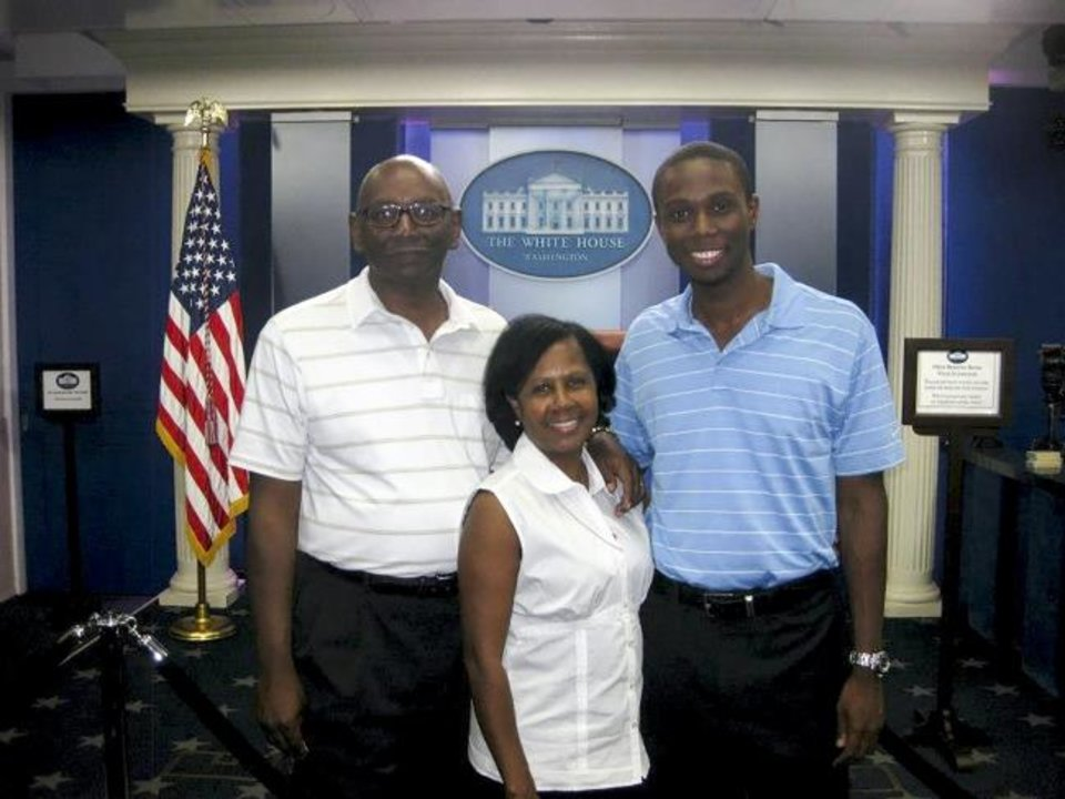 Photo -  Rayshon Payton, right, was a White House intern during the summer of 2012. Pictured with his parents, Raymond and Mildred, Payton now works in Washington, D.C., as the legislative director for U.S. Rep. Kendra Horn. [PHOTO PROVIDED]
