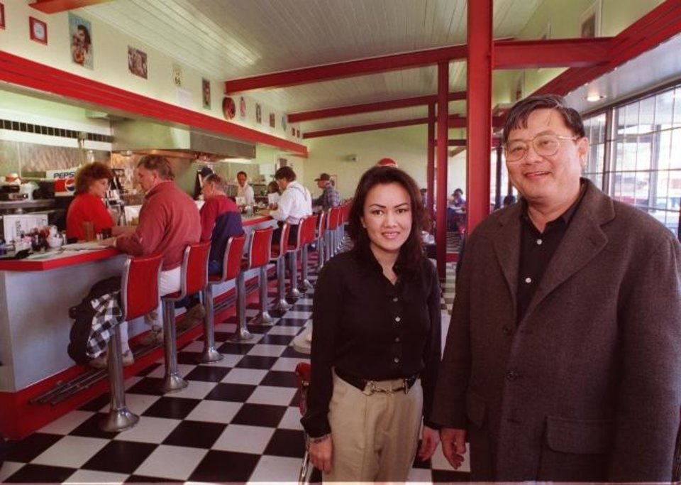 Photo - Loc Van Le and his daughter Mai Le  in the Jimmy's Egg Restaurant at 1616 N May.