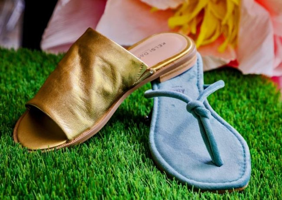 Photo -  Seychelles blue velvet thong sandal, $69, and Kelsi Dagger gold metallic slide, $90, from Betsy King A Shoe Boutique.   [Chris Landsberger/The Oklahoman]