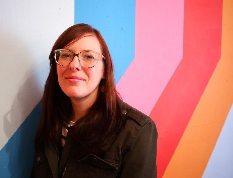 Photo - Krystle Brewer, executive director of the Oklahoma Visual Arts Coalition, talks about