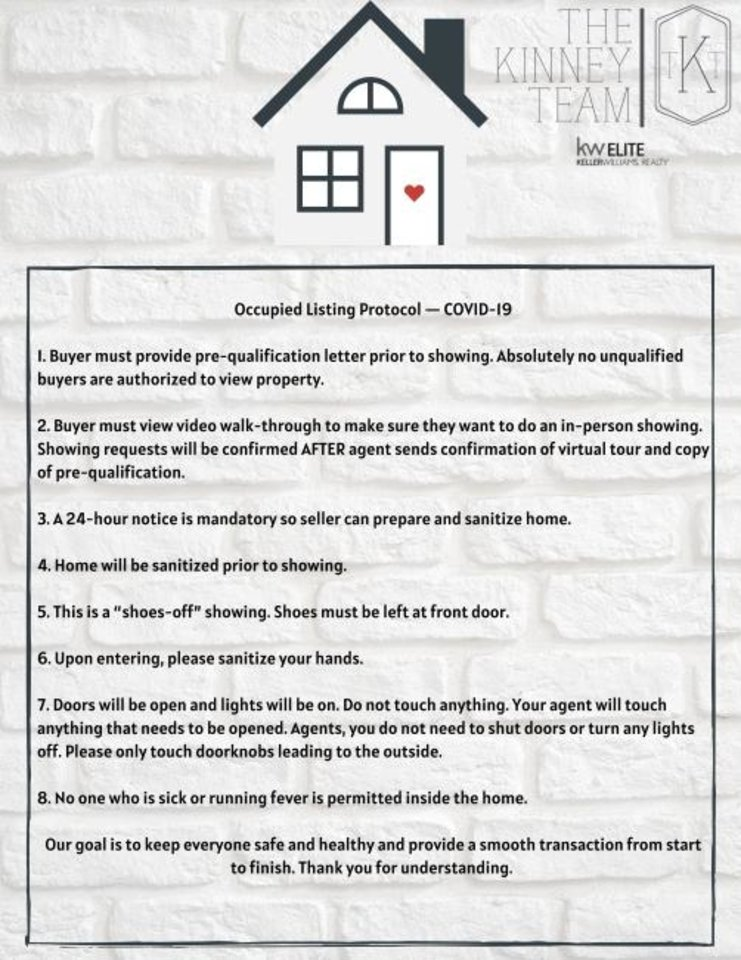 Photo -  Kacie Kinney, an agent with Keller Williams Realty in Yukon, says she makes sure everyone involved knows this protocol for showing homes. [PHOTO PROVIDED]
