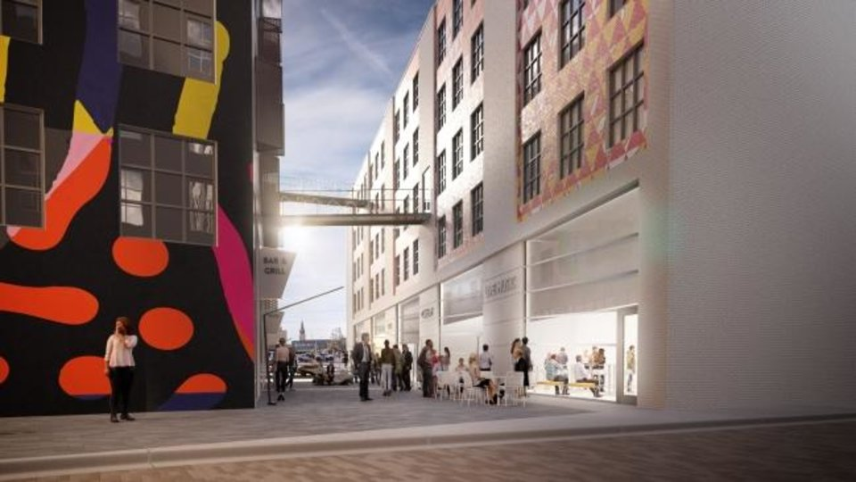 Photo -  Commercial alleyways are designed through the heart of the proposed Alley's End development planned for NW 4 and E.K. Gaylord. Rendering by FSB.