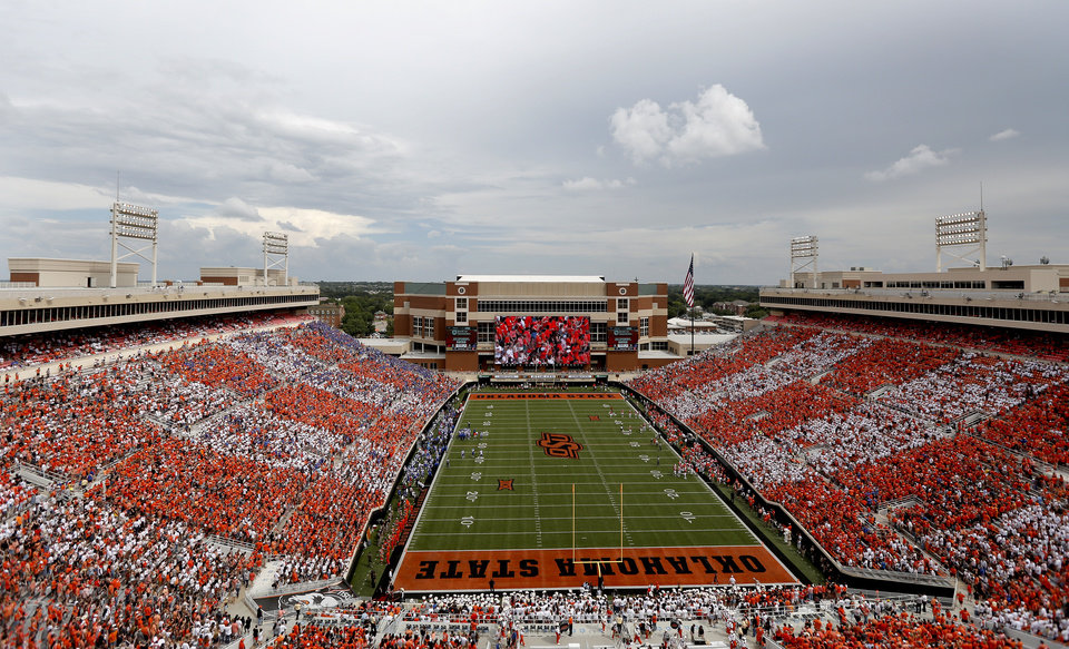 Photo - Boone Pickens Stadium is pictured before a college football game between the Oklahoma State Cowboys (OSU) and the Boise State Broncos at Boone Pickens Stadium in Stillwater, Okla., Saturday, Sept. 15, 2018. OSU won 44-21. Photo by Sarah Phipps, The Oklahoman