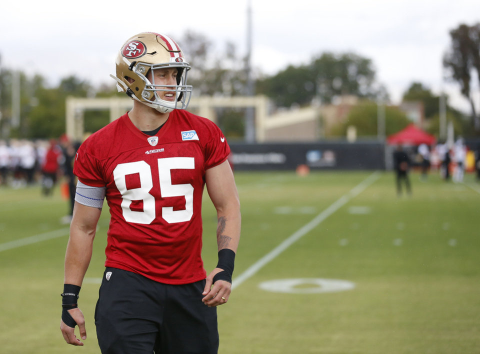 Photo - San Francisco 49ers' George Kittle (85) runs through a drill during a practice at the team's NFL football  facility, in Santa Clara, Calif., Tuesday, May 21, 2019. (AP Photo/Josie Lepe)
