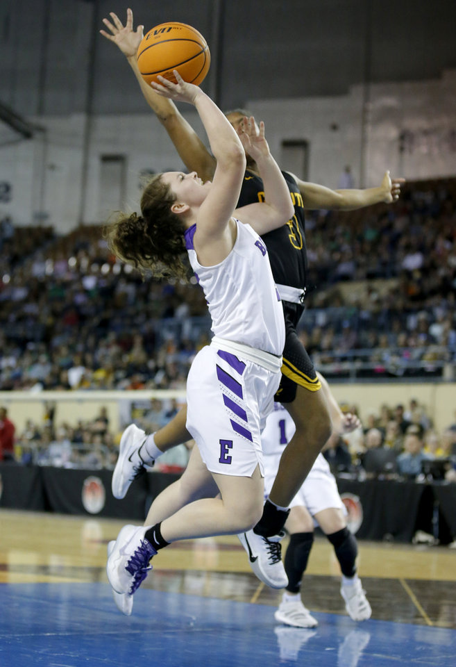 "Photo - Hydro-Eakly's Lotti Parker (2) goes up for a lay up as Canute's Kylee Smith (3) defends during the Class A girls basketball tournament championship game between Hydro-Eakly and Canute inside Jim Norick Arena, ""The Big House,"" at the OKC Fairgrounds in Oklahoma City,  Saturday, March 7, 2020. [Sarah Phipps/The Oklahoman]"