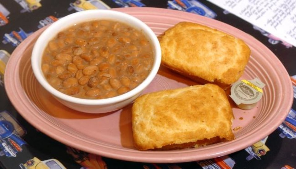 Photo -  A serving of beans and cornbread from Ann's Chicken Fry restaurant on Route 66 in Oklahoma City as seen on Friday, April 14, 2006.   By Michael Downes, The Oklahoman
