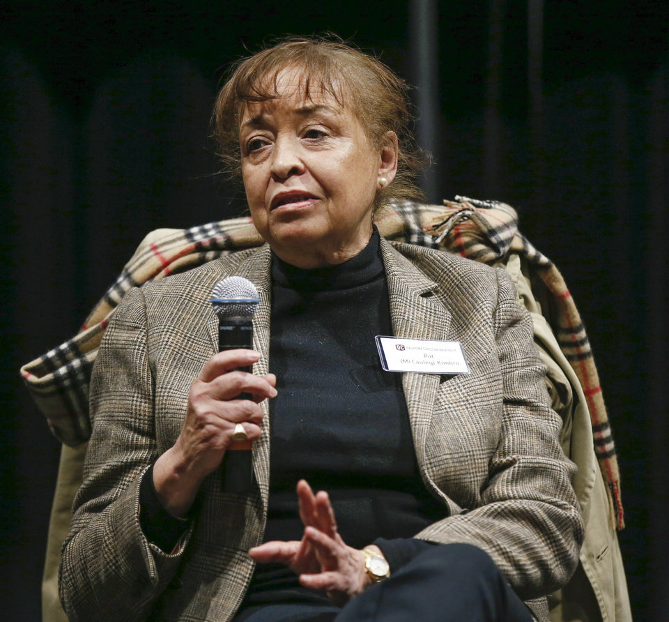 Photo - Pat Kimbro speaks during a panel discussion of former students who were expelled from then Oklahoma Christian College and arrested in 1969 after the Benson Hall sit-in to protest the expulsion of black basketball players who were accused of attending an interracial gathering off campus, at Oklahoma Christian University's Judd Theatre in Oklahoma City, Wednesday, March 6, 2019. Pat Kimbro, whose maiden name is McCauley, is one of what OC now calls Oklahoma Christian's 18. Photo by Nate Billings, The Oklahoman