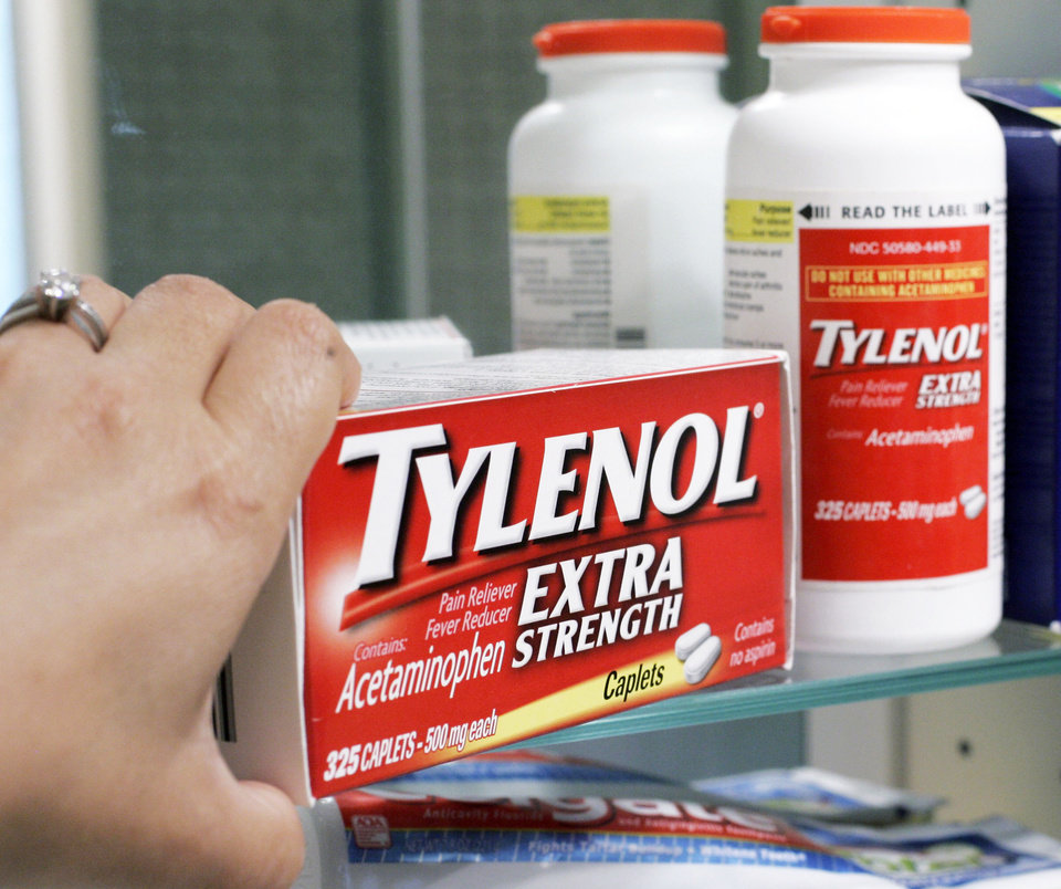 Photo - Tylenol Extra Strenth is shown in a medicine cabinet at a home in Palo Alto, Calif. ap photo
