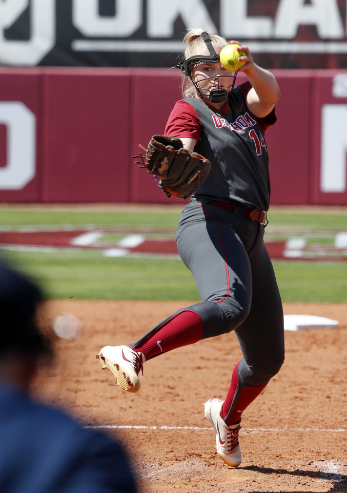 Photo -  OU pitcher Paige Lowary was sick the first time the Sooners played Boston University, but she and the team are healthy and ready for the rematch on Friday. [PHOTO BY STEVE SISNEY, THE OKLAHOMAN]