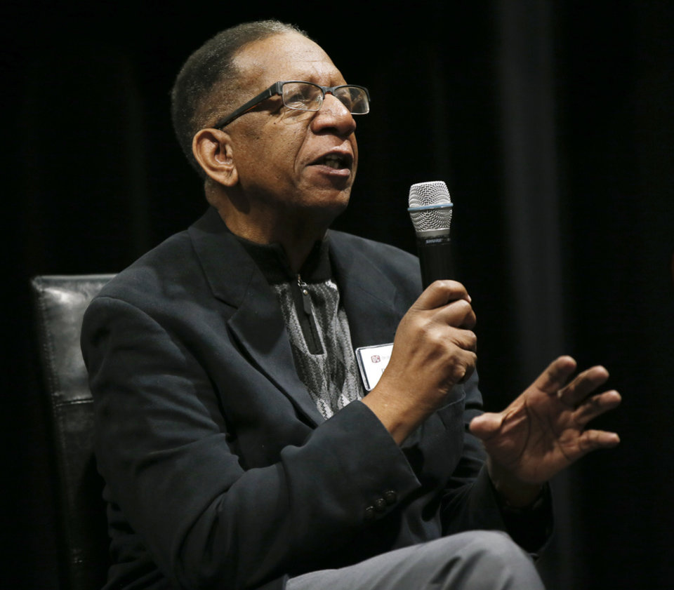 Photo - Donald Wilson speaks during a panel discussion of former students who were expelled from then Oklahoma Christian College and arrested in 1969 after the Benson Hall sit-in to protest the expulsion of black basketball players who were accused of attending an interracial gathering off campus, at Oklahoma Christian University's Judd Theatre in Oklahoma City, Wednesday, March 6, 2019. Wilson is one of what OC calls  Oklahoma Christian's 18. Photo by Nate Billings, The Oklahoman