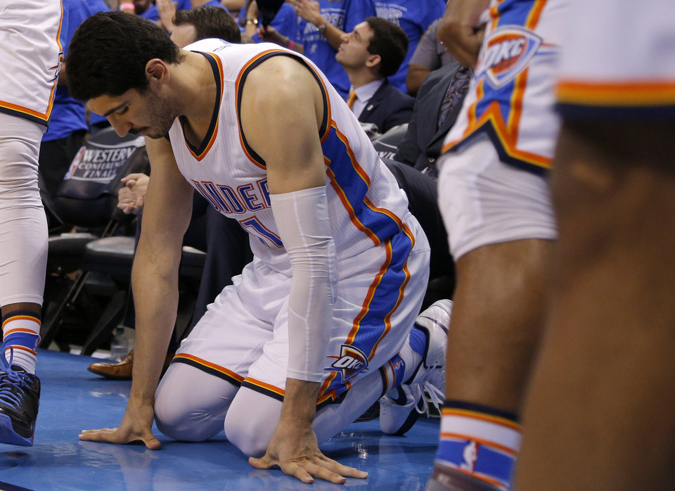 Photo - Oklahoma City's Enes Kanter (11) reacts in the 4th quarter during Game 6 of the Western Conference finals in the NBA playoffs between the Oklahoma City Thunder and the Golden State Warriors at Chesapeake Energy Arena in Oklahoma City, Saturday, May 28, 2016. Photo by Sarah Phipps, The Oklahoman