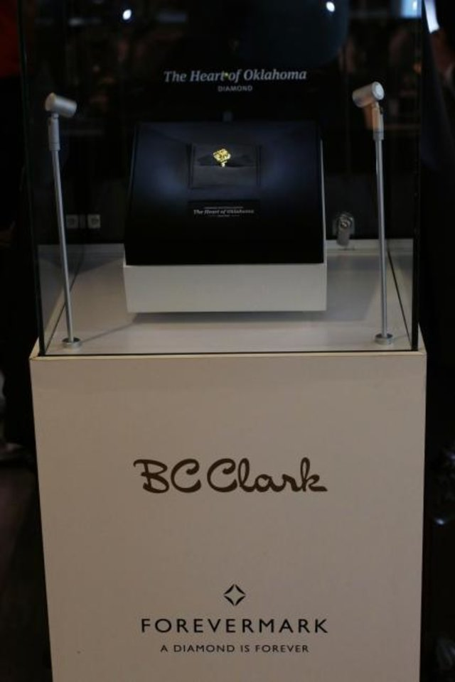 Photo -  The Heart of Oklahoma diamond is displayed at BC Clark Jewelers downtown store Friday. [Doug Hoke/The Oklahoman]