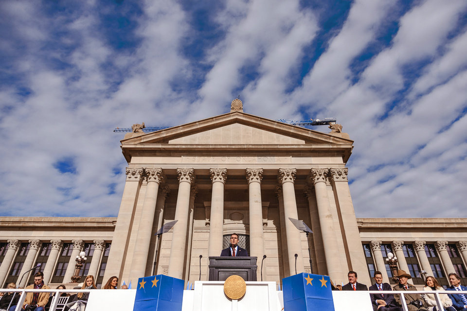 Photo - Gov. Kevin Stitt gives his inaugural speech during his inauguration ceremony at the Oklahoma State Capitol in Oklahoma City, Okla. on Monday, Jan. 14, 2019.  Photo by Chris Landsberger, The Oklahoman