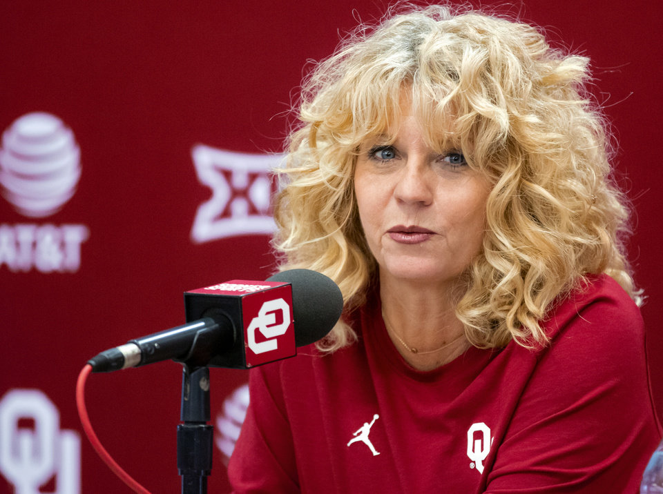 Photo - University of Oklahoma women's basketball coach Sherri Coale speaks to the media during media day at the Lloyd Noble Center on Monday, Oct. 28, 2019 in Norman, Okla. [Chris Landsberger/The Oklahoman]