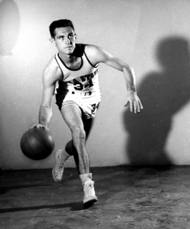 Photo - Eddie Sutton played at the guard position for the Cowboys basketball team from 1955 to 1958 under head coach Henry Iba. [PHOTO PROVIDED]