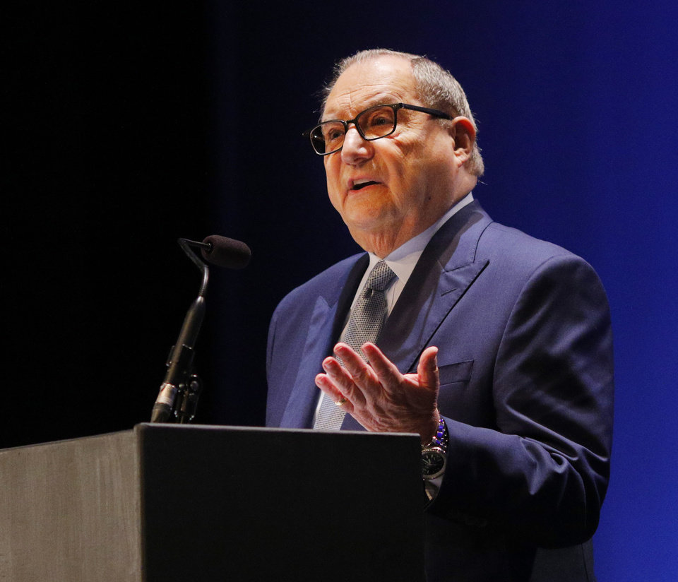 "Photo - Abraham H. Foxman, National Director Emeritus of the Anti-Defamation League, speaks at ""Testimony of a Child, the Holocaust Remembrance Day program at Bishop McGuinness High School auditorium, Sunday, May 5, 2019. [Doug Hoke/The Oklahoman]"