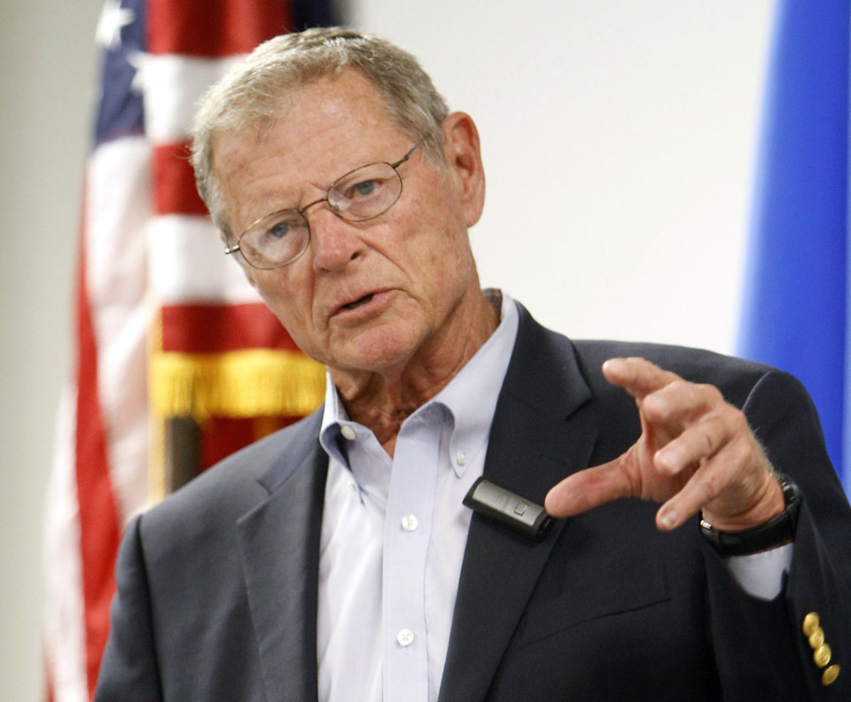 Photo - Oklahoma Senator Jim Inhofe speaks to the Air Force Association at the Boeing facility in Midwest City, OK, Tuesday, August 6, 2013,  Photo by Paul Hellstern, The Oklahoman