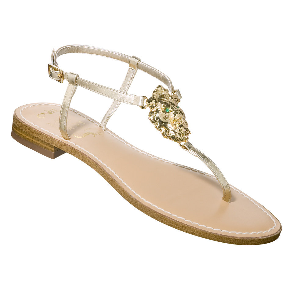 Photo -  Miss Trish Capri sandal with gold lion's head accent, $19.99, at Target.