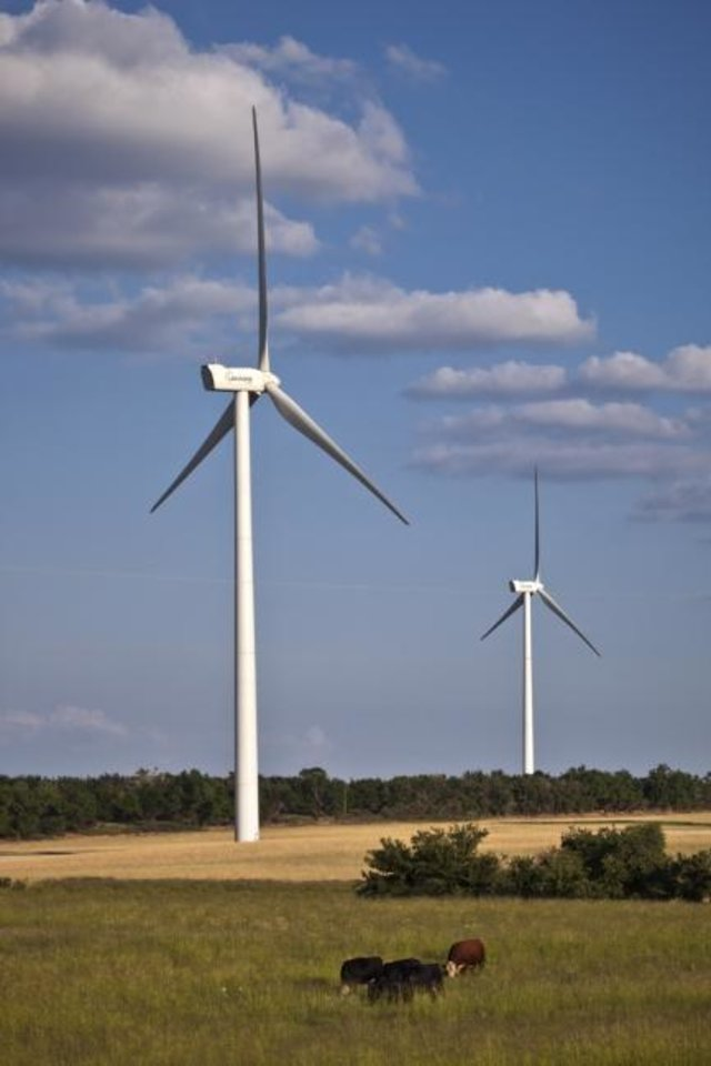 Photo -  Turbines operate as part of the Dempsey Ridge Wind Farm in Oklahoma. [Provided]