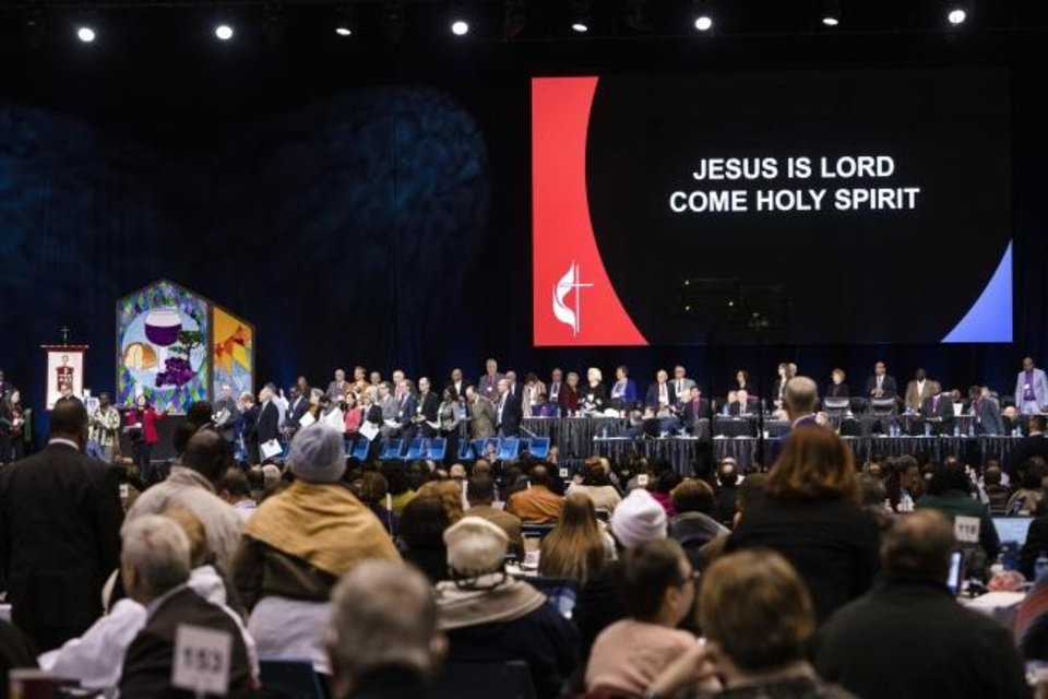 Photo -  View of the stage during during the 2019 United Methodist General Conference inside the Dome at America's Center in St. Louis. [Kathleen Barry/UMNS]