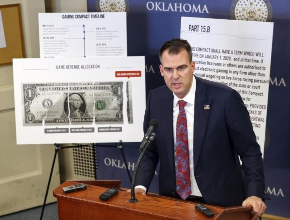 Photo -  Gov. Kevin Stitt talks about the state of tribal gaming compact negotiations during a press conference on the fourth floor of the state Capitol in Oklahoma City in December. [Nate Billings/The Oklahoman]