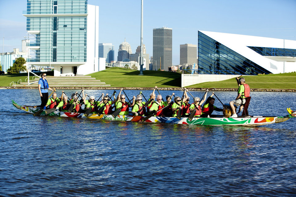 Photo - The retirement village made Oklahoma history as the first ever Senior Dragon Boat paddling team on the Oklahoma River back in 2012. Photo provided by Spanish Cove.