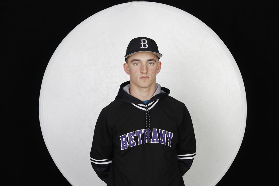 Photo - Gray Adams, Bethany, baseball, at high school media day, Wednesday, February 12, 2020.  [Photo by Doug Hoke/The Oklahoman]