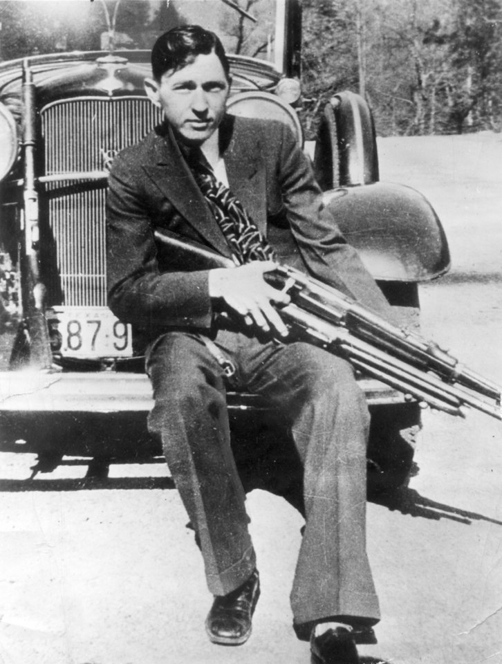 Photo - Gangster Clyde Barrow in an Associated Press photo dated 4/12/34.  Barrow and Bonnie Parker would die in a lawmen's ambush near Arcadia, LA, less than six weeks later.