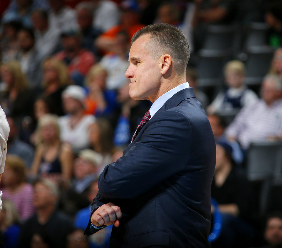 Photo - Oklahoma City coach Billy Donovan during an NBA basketball game between the Oklahoma City Thunder and the Houston Rockets at Chesapeake Energy Arena in Oklahoma City, Friday, Jan. 29, 2016. Oklahoma City won 116-108. Photo by Bryan Terry, The Oklahoman