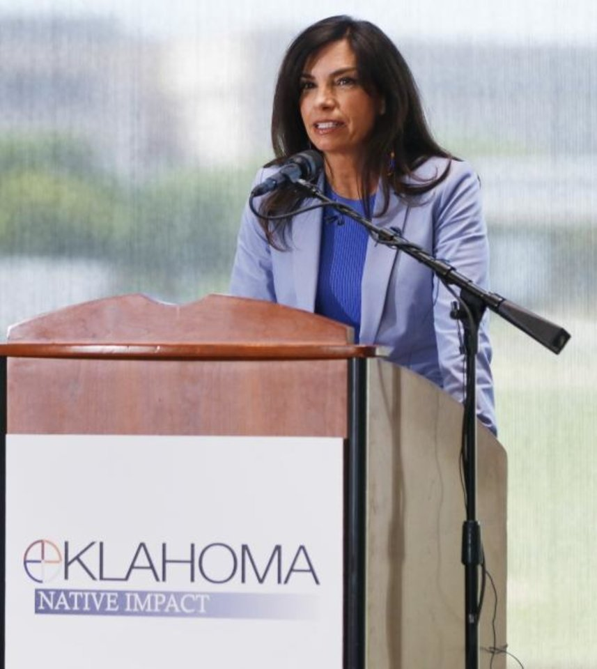 Photo -  Oklahoma Secretary of Native American Affairs Lisa Johnson Billy speaks at the Oklahoma Tribal Finance Consortium. The group released the results of a study measuring the economic impact of tribes in the state. [DOUG HOKE/THE OKLAHOMAN]
