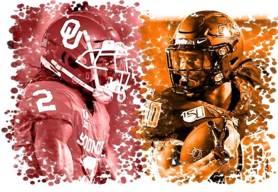 Photo -  Saturday's Bedlam showdown features two of the NCAA's top offensive players in OU's CeeDee Lamb, left, and OSU's Chuba Hubbard. [Photo illustration by The Oklahoman]