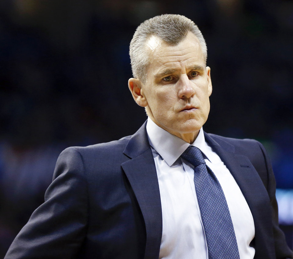 Photo - Oklahoma City coach Billy Donovan stands on the court in the fourth quarter during an NBA basketball game between the Denver Nuggets and the Oklahoma City Thunder at Chesapeake Energy Arena in Oklahoma City, Friday, March 29, 2019. Denver won 115-105. Photo by Nate Billings, The Oklahoman