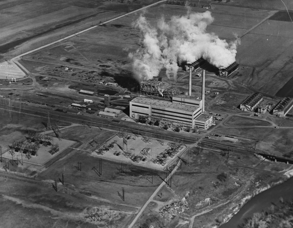 Photo -  Oklahoma Gas and Electric Co. in 1940 opened its Mustang Power Plant, a natural gas-fired generator in western Oklahoma City. [Photo provided]