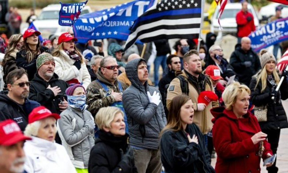 Photo -  Supporters gather to have their voices heard during the Drive for 45 Rally to support the Pres. Donald Trump at the Oklahoma state Capitol in Oklahoma City, Okla. on Wednesday, Jan. 6, 2021. [Chris Landsberger/The Oklahoman]