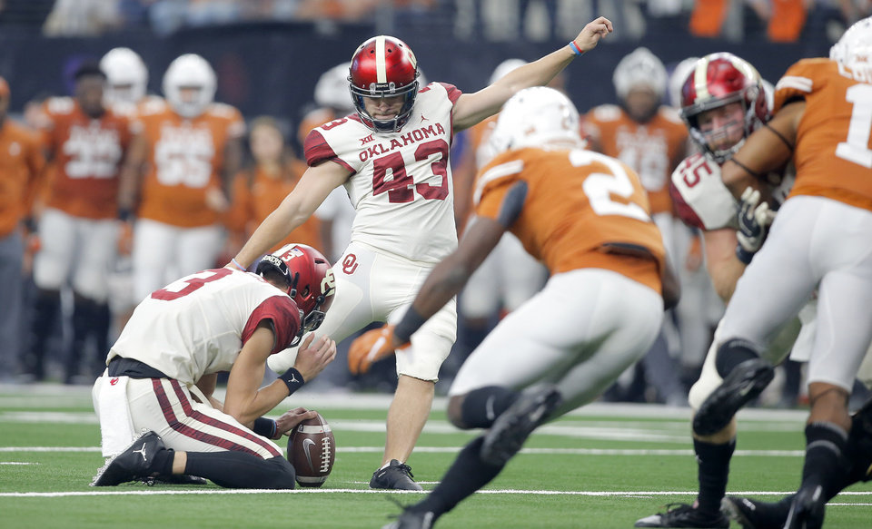 Photo - Oklahoma's Austin Seibert (43) kicks a field goal during the Big 12 Championship football game between the Oklahoma Sooners (OU) and the Texas Longhorns (UT) at AT&T Stadium in Arlington, Texas, Saturday, Dec. 1, 2018.  Oklahoma won 39-27. Photo by Bryan Terry, The Oklahoman