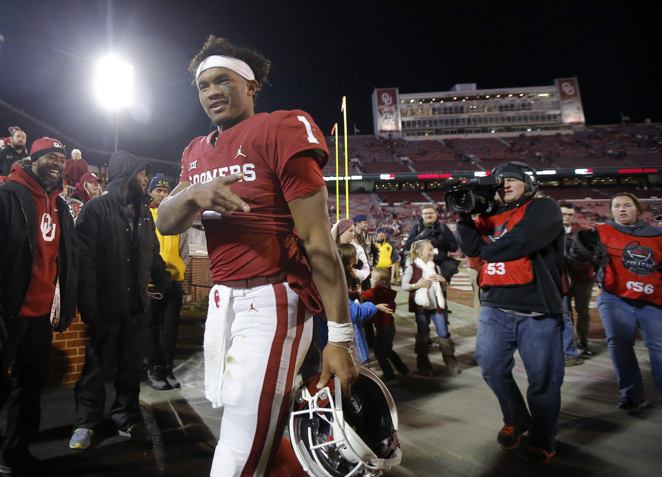Photo - Oklahoma's Kyler Murray (1) gestures as he leaves the field following a Bedlam college football game between the University of Oklahoma Sooners (OU) and the Oklahoma State University Cowboys (OSU) at Gaylord Family-Oklahoma Memorial Stadium in Norman, Okla., Nov. 10, 2018.  Photo by Bryan Terry, The Oklahoman