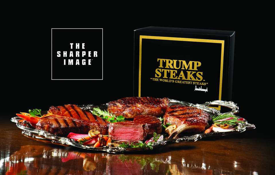 Photo - Four collections of Prime Certified Angus Beef steaks and burgers are being marketed by Donald Trump and The Sharper Image. TRUMP STEAKS / SHARPER IMAGE ORG XMIT: 0707101604104329