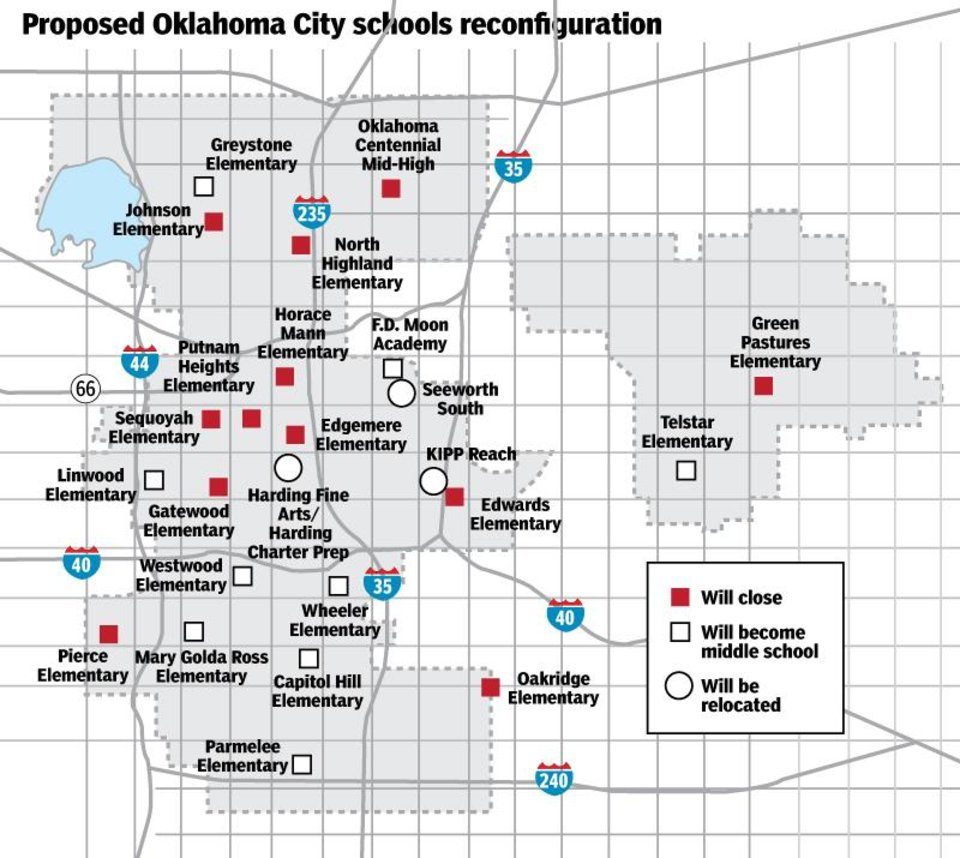 Photo -  This map depicts Oklahoma City Public Schools' reconfiguration under the Pathway to Greatness plan. [TODD PENDLETON/THE OKLAHOMAN GRAPHICS]