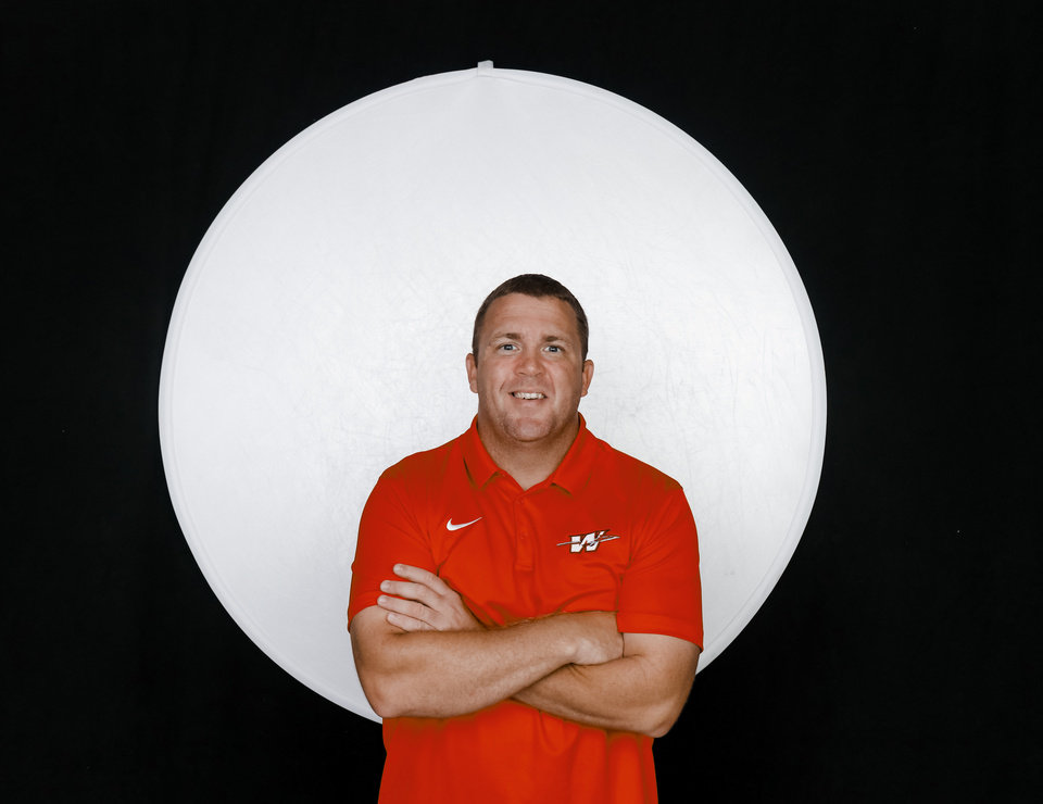 Photo - Washington Brad Beller poses for a photo during the Fall high school sports media day at Bishop McGuinness High School in Oklahoma City, Okla. on Wednesday, Aug. 14, 2019.   [Doug Hoke/The Oklahoman]