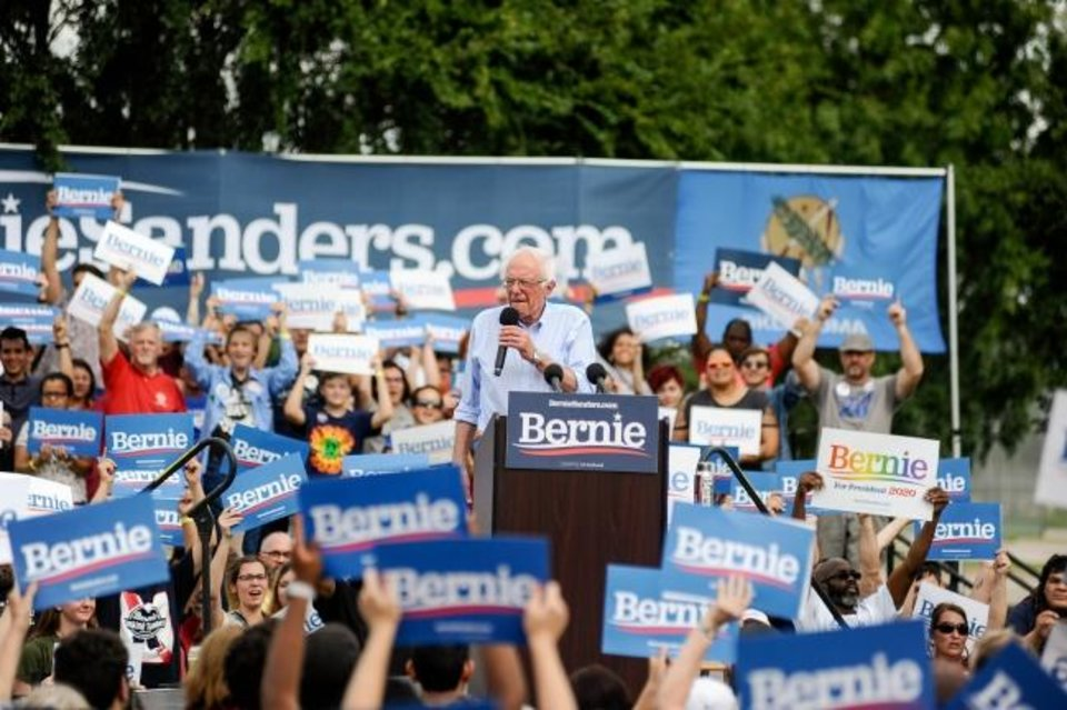 Photo -  Democratic presidential candidate and Vermont Senator Bernie Sanders talks to a crowd during a rally at Reaves Park in Norman in September. [Paxson Haws/The Oklahoman].