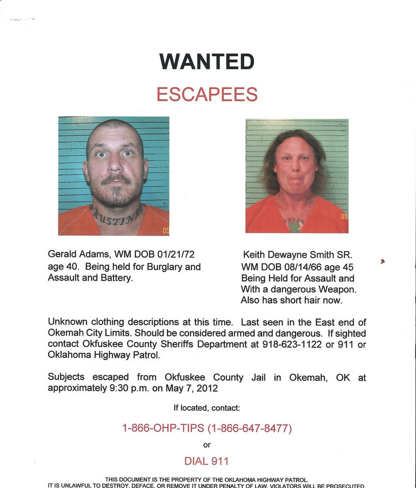 Photo - Gerald Adams, 40, and Keith Smith Sr., 45, escaped from the Okfuskee County jail Monday night and are being sought by authorities.   - Provided